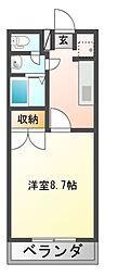 JR赤穂線 邑久駅 徒歩18分の賃貸アパート 2階1Kの間取り
