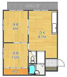 JPアパートメント吹田II[2階]の間取り