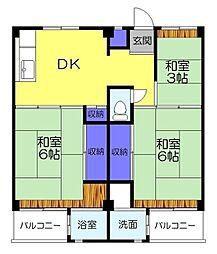 ビレッジハウス勝田3号棟[202号室]の間取り