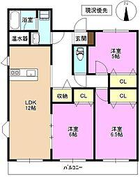 長野県上田市常磐城 5丁目の賃貸マンションの間取り