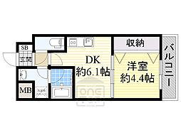 Osaka Metro谷町線 都島駅 徒歩4分の賃貸マンション 5階1DKの間取り