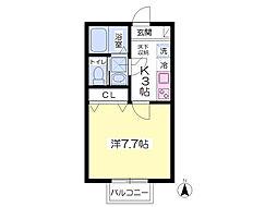 JR東北本線 東大宮駅 徒歩7分の賃貸アパート 1階1Kの間取り