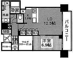 ブランズタワー梅田North 37階1LDKの間取り