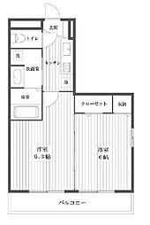 埼玉県八潮市茜町1丁目の賃貸アパートの間取り
