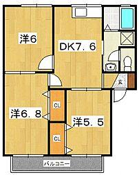 マーチ梶塚[102号室号室]の間取り