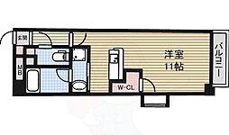 ラッフル大曽根 6階ワンルームの間取り