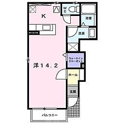 近鉄長野線 喜志駅 徒歩8分の賃貸アパート 1階1Kの間取り