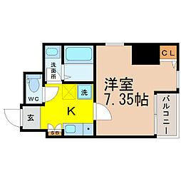 愛知県名古屋市中区平和2の賃貸マンションの間取り