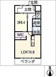 GRAN R TATSUMI 2階1LDKの間取り