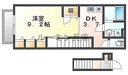 プランドールS 2階1DKの間取り