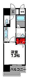 JR鹿児島本線 千早駅 徒歩4分の賃貸マンション 6階1Kの間取り