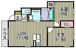 D−room久米田[103号室]の間取り