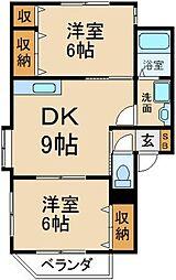 K'Sアパートメント 1階2DKの間取り