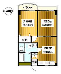 神奈川県横浜市神奈川区桐畑の賃貸マンションの間取り