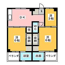 ビレッジハウス寺尾2号棟[4階]の間取り