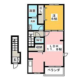 ピレネーII[2階]の間取り