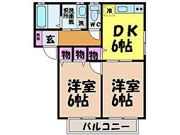愛媛県松山市竹原3丁目の賃貸アパートの間取り