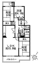 光明池駅前第二住宅3-1号棟[2階]の間取り