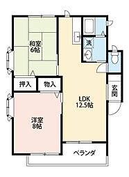 福岡県北九州市八幡西区茶屋の原4丁目の賃貸アパートの間取り