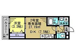 JR総武線 幕張本郷駅 徒歩10分の賃貸アパート 1階1DKの間取り