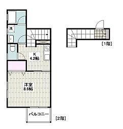小田急江ノ島線 六会日大前駅 徒歩8分の賃貸アパート 2階1Kの間取り