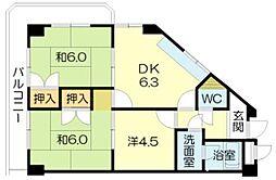 土山ヤングコーポ[111号室]の間取り
