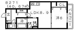 キャトルセゾン・コマ[103号室号室]の間取り
