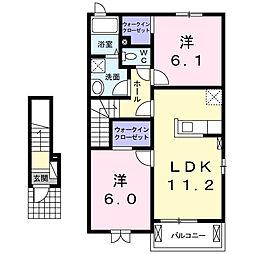 栃木県真岡市大沼の賃貸アパートの間取り