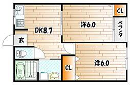 コーポ東建I[1階]の間取り