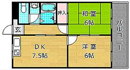 第五金森マンション 5階2DKの間取り