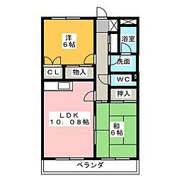 クレスト篠木[2階]の間取り