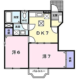 JR中央本線 韮崎駅 徒歩7分の賃貸アパート 1階2DKの間取り