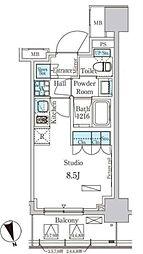 東京メトロ有楽町線 新富町駅 徒歩6分の賃貸マンション 7階ワンルームの間取り