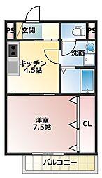 JR山陽本線 大久保駅 徒歩13分の賃貸アパート 1階1DKの間取り