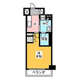 プラウドフラット菊川 3階1Kの間取り