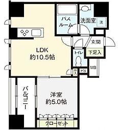 都営浅草線 東銀座駅 徒歩8分の賃貸マンション 10階1LDKの間取り