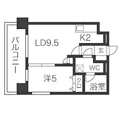 LEONE中島公園[5階]の間取り