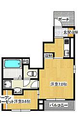 石井町 1K 新築アパート[1階]の間取り