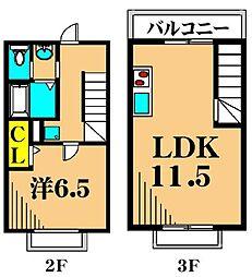 JR京浜東北・根岸線 大井町駅 徒歩12分の賃貸アパート 2階1LDKの間取り