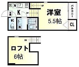 ハーモニーテラス小田原II 1階1Kの間取り