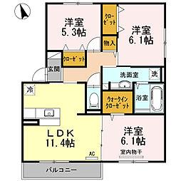 広島県東広島市八本松飯田1丁目の賃貸アパートの間取り