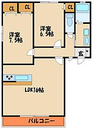 ブルーメ白水II[2階]の間取り