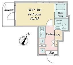 南田中1丁目・新築RCマンション 3階1Kの間取り