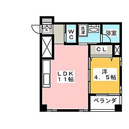 愛知県名古屋市千種区鹿子町4丁目の賃貸マンションの間取り