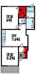 福岡県福津市中央1丁目の賃貸アパートの間取り