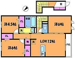 東京都調布市飛田給3丁目の賃貸アパートの間取り
