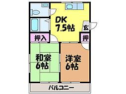 愛媛県松山市朝生田町7丁目の賃貸マンションの間取り