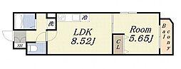 エクシード田中 2階1LDKの間取り