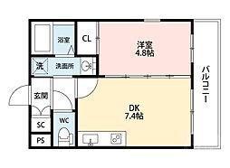 JR東海道・山陽本線 吹田駅 徒歩8分の賃貸マンション 1階1DKの間取り
