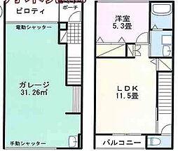太子町鵤ホビールームB号 2階1LDKの間取り